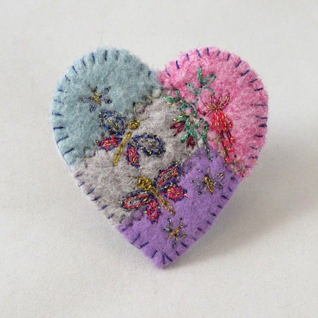 Butterfly Heart Brooch in metallic threads on felt
