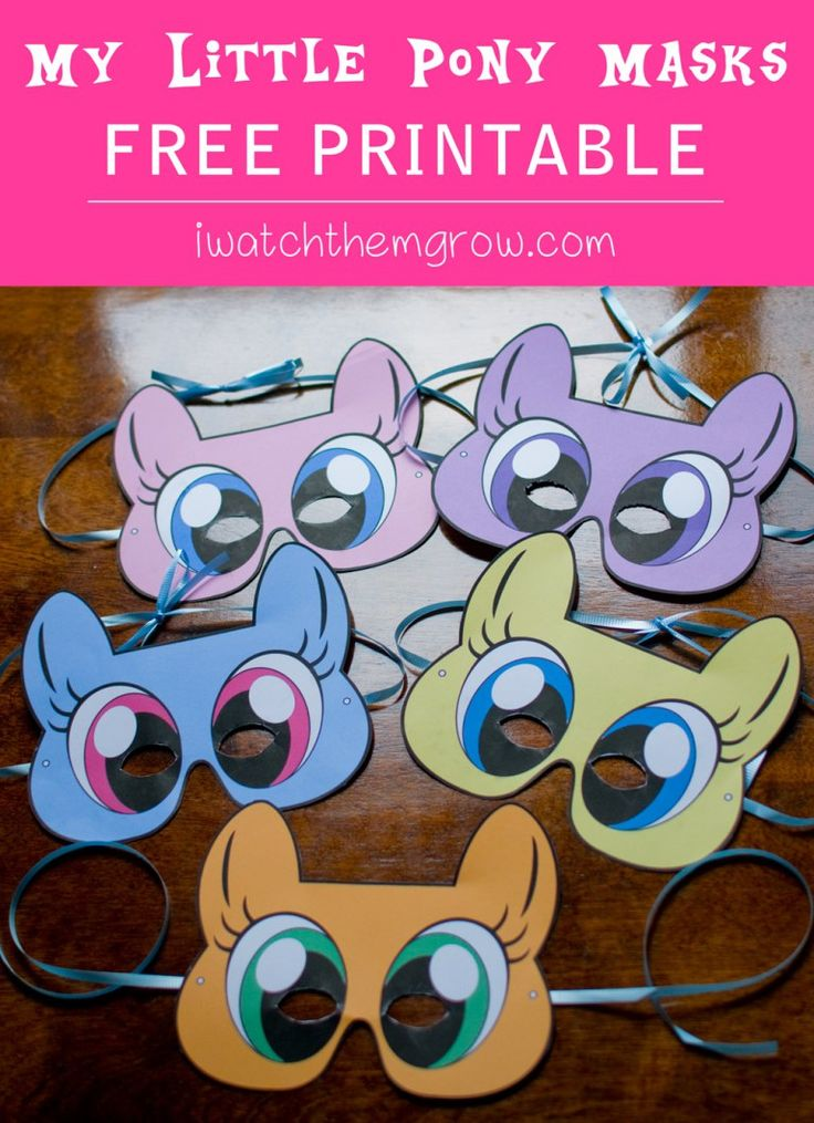 Free printable My Little Pony masks! For your party photo booth or dress-up…