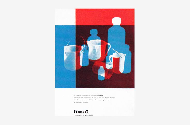 Contenitori Pirelli by Albe Steiner. 1959, Advertising. Advertisement for plastic containers manufactured by Pirelli. Previously unseen on the internet.
