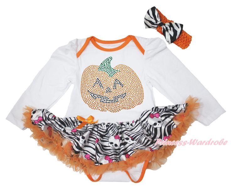 >> Click to Buy << Halloween Rhinestone Pumpkin Print L/S White Bodysuit Zebra Girl Baby Dress NB-18M MAJS0340 #Affiliate