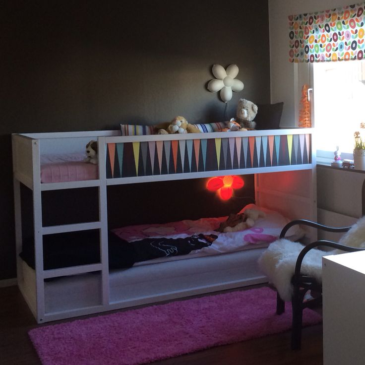 Ikea Kura Bed Diy Painted White And With Wallpaper From