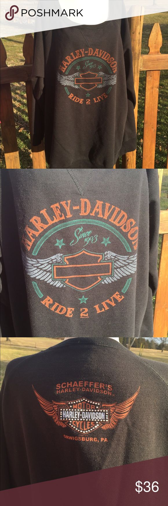 """Harley Davidson Sweatshirt Size 3XL Size tag is missing. Measures: pit to pit: 29"""". Bottom of the collar in the back to the bottom of the shirt: 27"""". Be sure to view the other items in our closet. We offer both women's and Mens items in a variety of sizes. Bundle and save!! Thank you for viewing our item!! Harley-Davidson Tops Sweatshirts & Hoodies"""