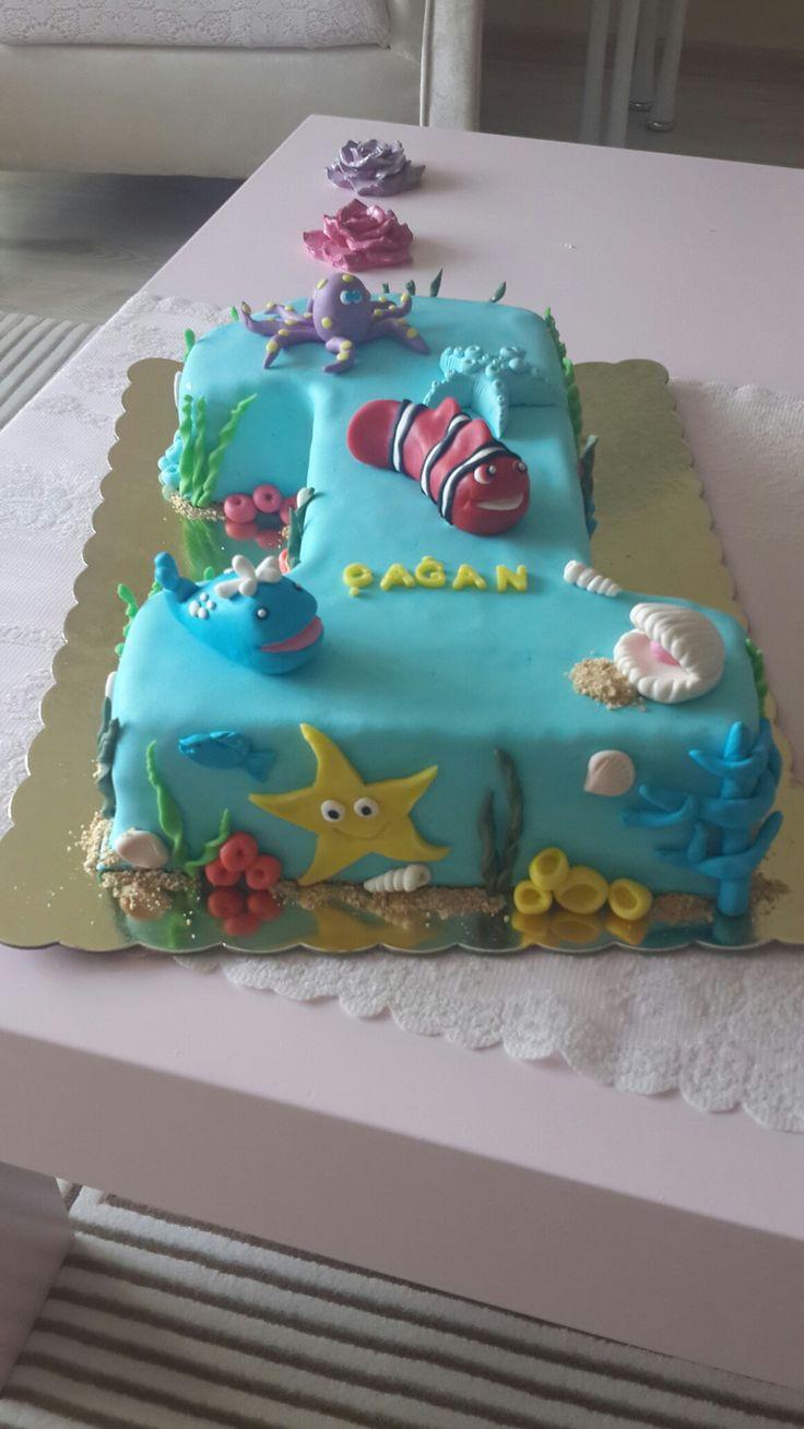 Deniz  temalı  doğum günü pastası