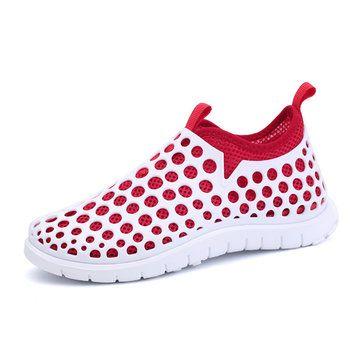 Mesh Match Color Slip On Flat Light Shoes - US$24.99