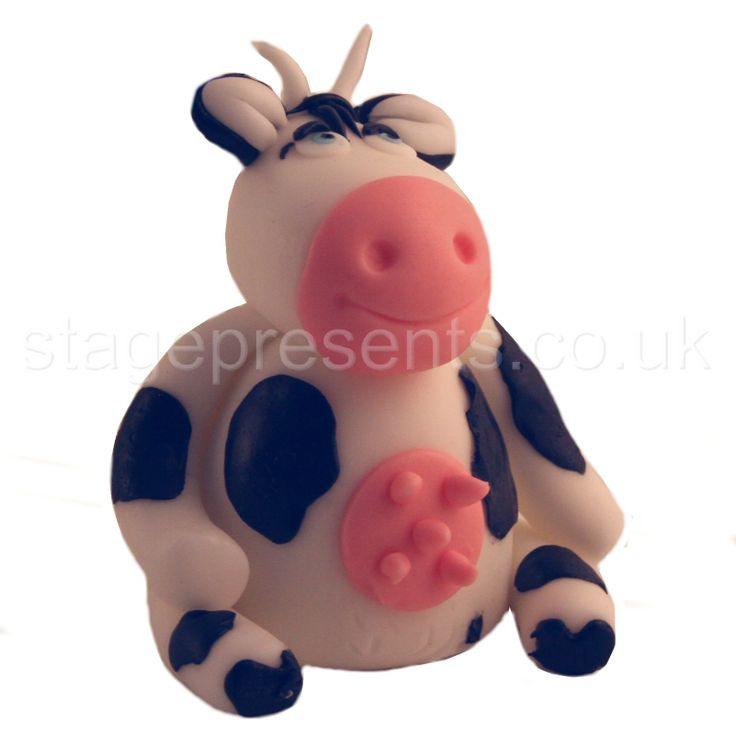 This cow features on our Jack & the Beanstalk pantomime greetings card.  It's made from fondant icing by the amazingly talented Julie Emmett.  See the card at http://www.stagepresents.co.uk/acatalog/Pantomimes.html