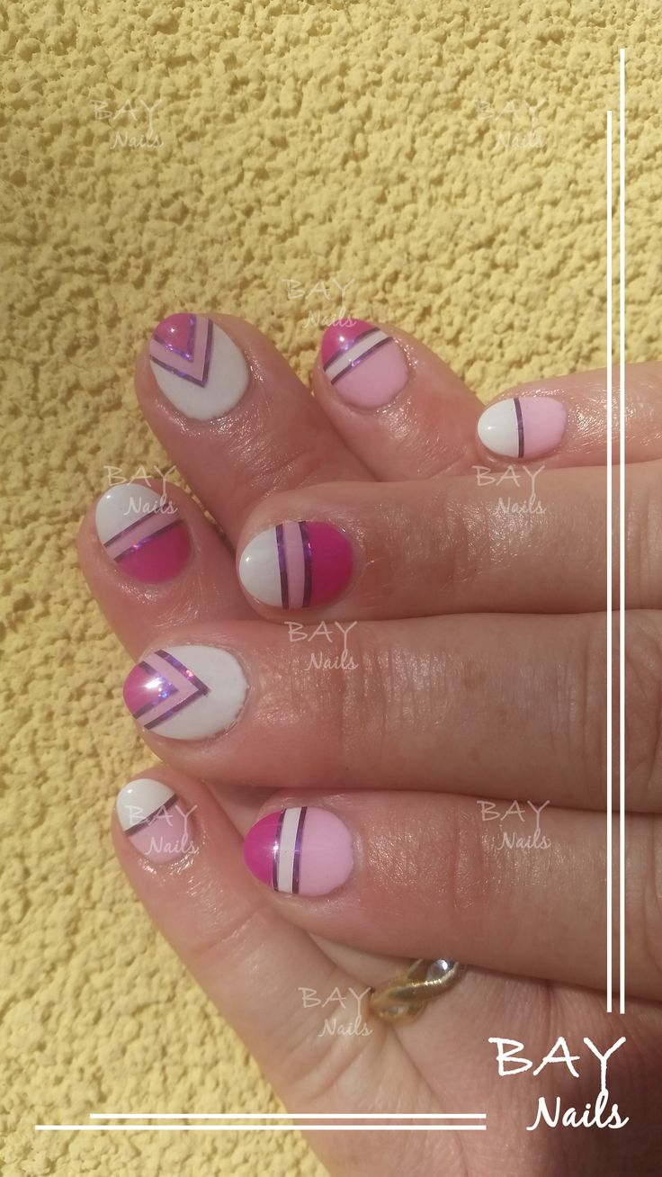 Pink-Rose-White nails, Geometric nails