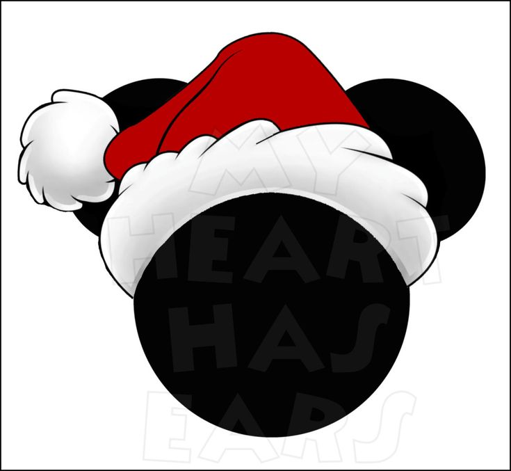 Mickey Mouse with Santa Hat INSTANT DOWNLOAD Christmas digital clip art :: My Heart Has Ears