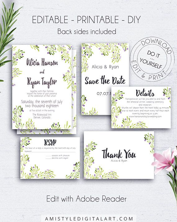 Wedding invitation set with stylish watercolor olive elements.This wedding invite suite is for an instant download EDITABLE PDF pack so you can download it right away, DIY edit and print it at home or at your local copy shop by Amistyle Digital Art on Etsy