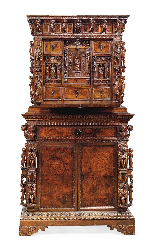 An Italian Carved Walnut And BURR WALNUT Veneered U0027Bambocciou0027 Cabinet Circa  Re Using Late Century Carved Elements