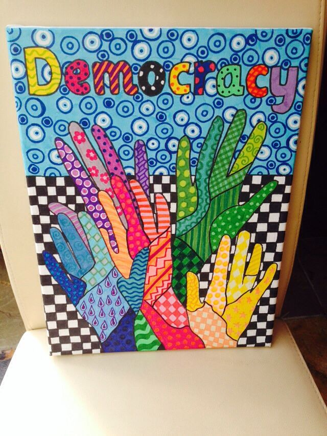 British Values, democracy canvas Nicky Jevon, Ledbury Primary School