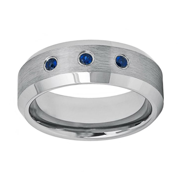 0.15ct Three Blue Sapphire in Brushed Center Tungsten Wedding Band Ring