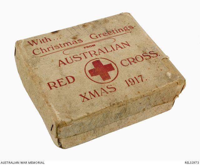 Australian Red Cross Christmas gift pack/ration pack to troops at the front, 1917