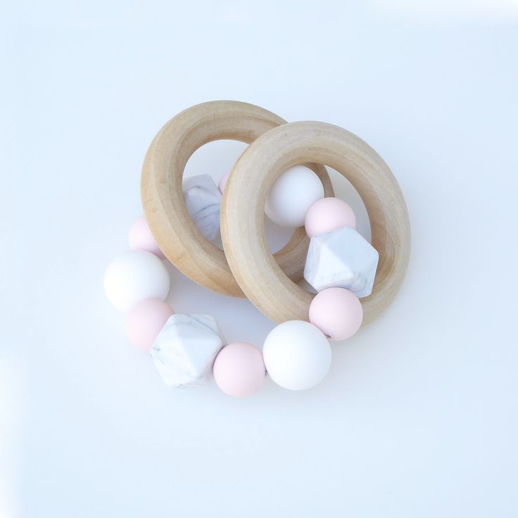 Lulla Wood and Silicone Teething Ring in Rose Quartz   Loulou Lollipop