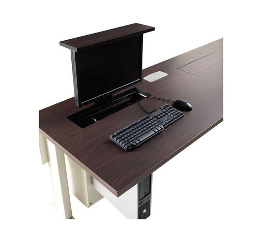 hidden monitor table! | Fun Office | Pinterest | Flats, Home and Desks