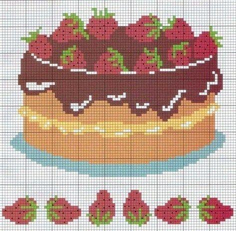 cross stitch erdbeer torte hmmm ....