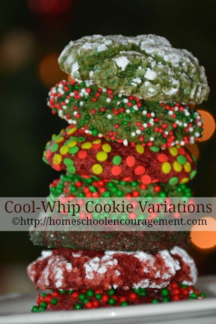 What I discovered with the help of my children is that you can make an endless variation on the basic cool-whip cookie.  The possibilities are endless!