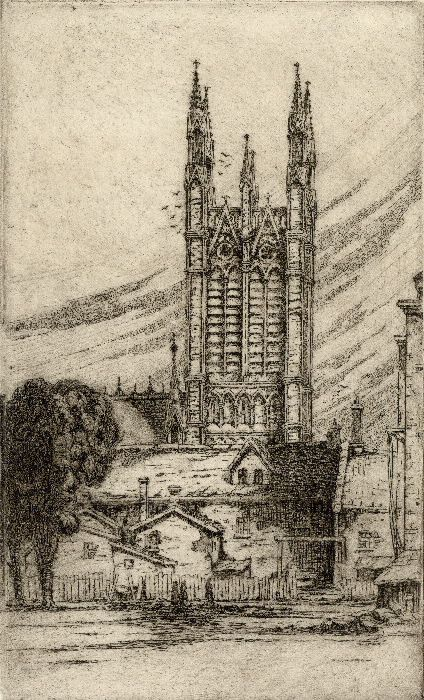 """Metropolitan Methodist (United) Church, Queen St. E., n. side, between Bond & Church Sts., looking e. from Victoria St., n. of Queen St. E., showing rear of houses on Bond St. backing on to Victoria St. Lane. An etching by Pearl entitled """"Metropolitan Church Tower"""" is item 220 in The Canadian Society of Graphic Art 2nd annual exhibition... Feb. 7th-Mar. 2nd, The Art Gallery of Toronto, 1925. Date Created year approximate for 1924?"""