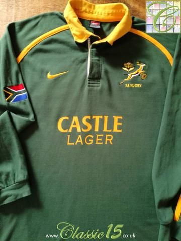 Official Nike South Africa home rugby shirt from the 2001/2002 international season.