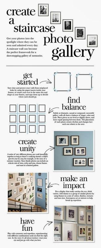 Great tips!  Staircase Photo Gallery Ideas