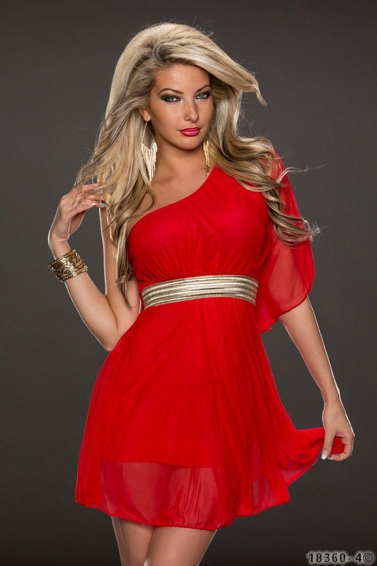 Rochie Delightful Red Rochie scurta de ocazie cu design one-shoulder, din material vaporos.   - talia accesorizata cu elastic auriu - material: 95% Viskose, 5% Elastan - producator: Italia - lungime (de la umar pana jos): 79 cm
