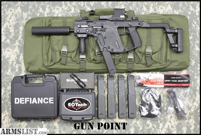 Kriss-Vector-Sbr-tac-pac 5-mags and eotech suppressor. Full auto