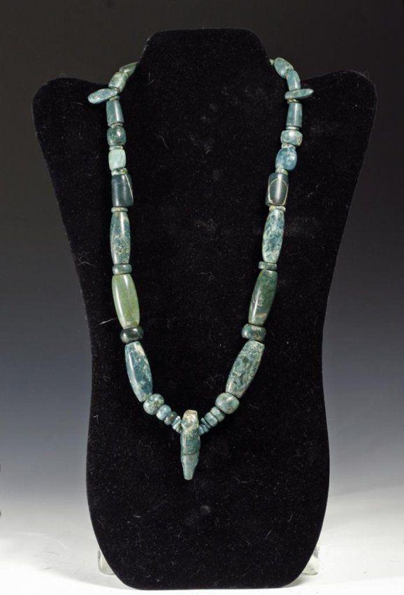 Ancient Pre-Columbian Guerrero Jade Bead Necklace