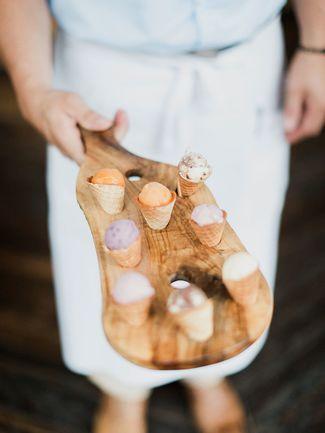 Mini ice cream cones for a wedding dessert