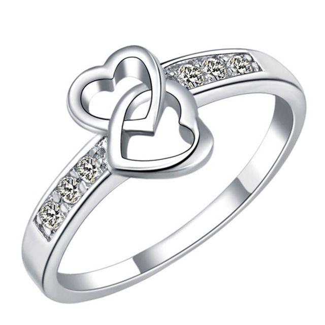 Вечность Любовь Обещание Кольца Для Женщин Настоящее Platinum Покрытием Двойное Сердце Обручальное Кольцо