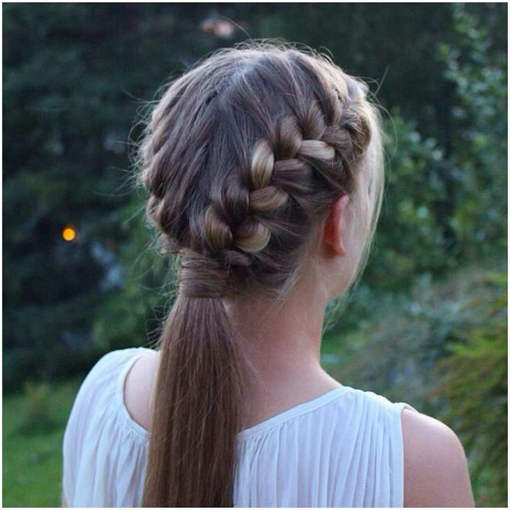 cornrows braided into a ponytail two french braids into a ...