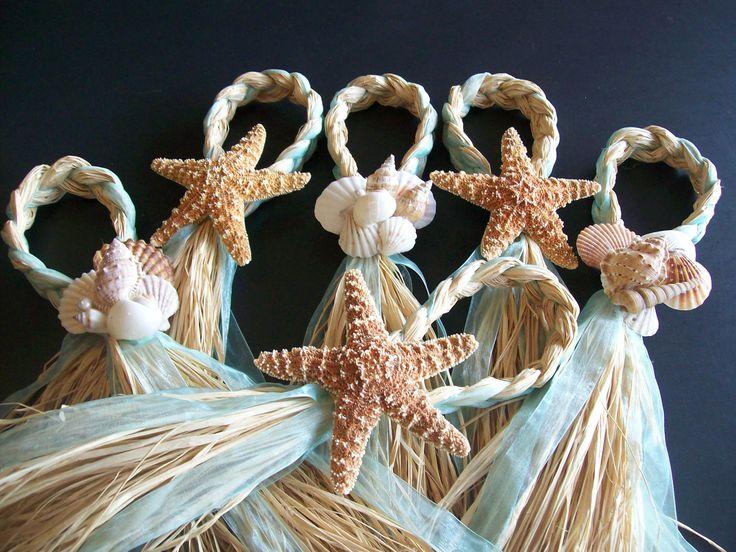 Starfish and Raffia Chair Hangers, Beach Wedding, Choose your Ribbon, Destination Wedding, Seashells. $14.00, via Etsy.