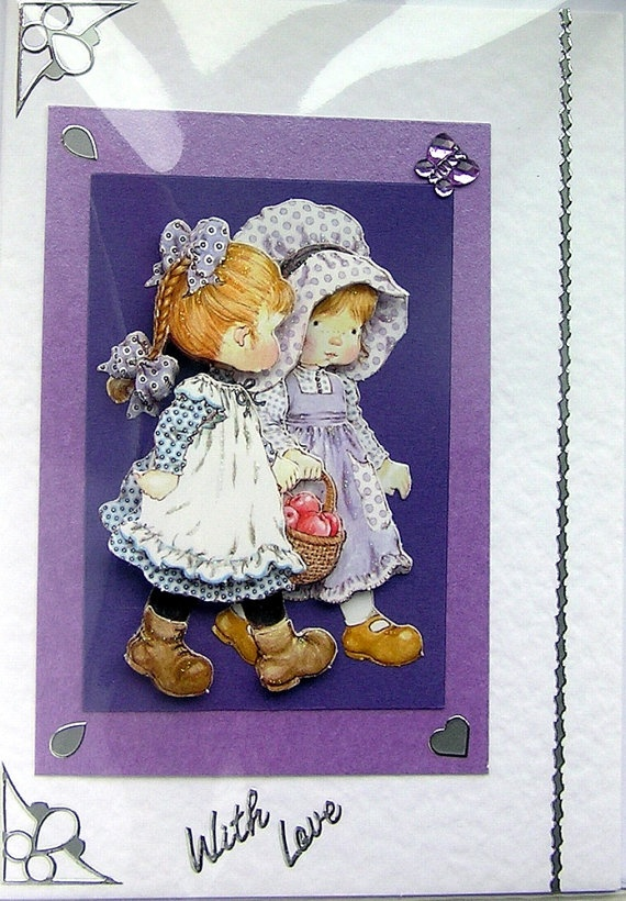 Best Friends HandCrafted 3D Decoupage Card  With by SunnyCrystals, $3.55