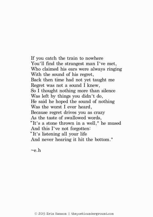 Train to nowhere - erin Hanson