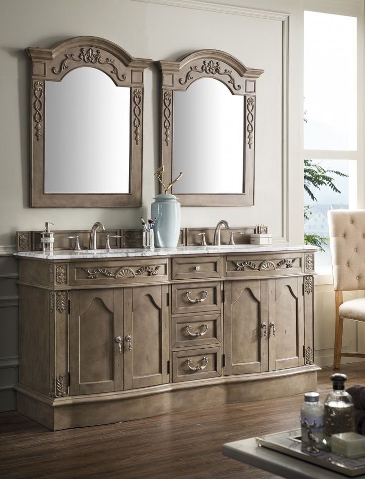 Photo Gallery On Website  inch Antique Double Bathroom Vanity Empire Gray Finish Carrara Marble Top