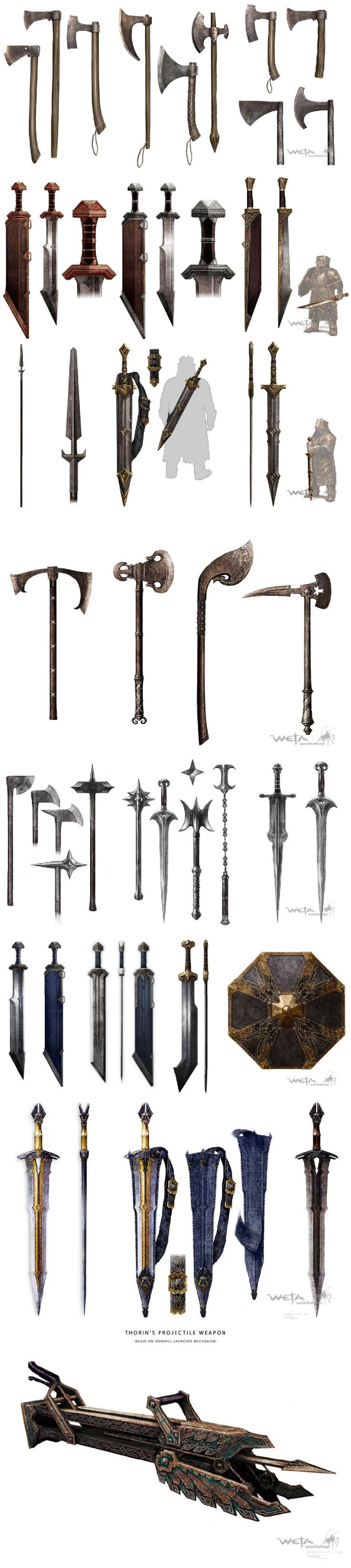 <3 Erebor dwarves weapons concept art_原描述_by Weta Workshop <3