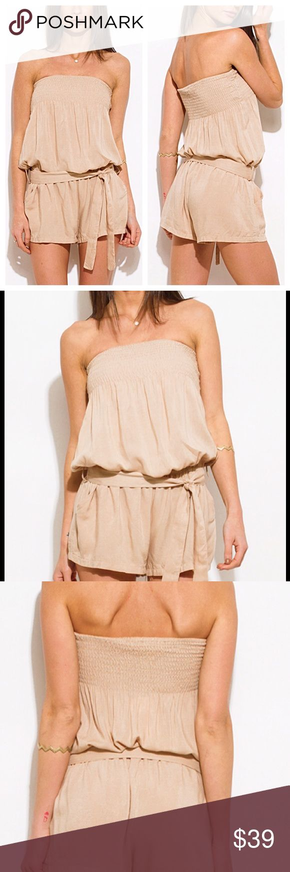 Khaki Beige Boho Romper 💋 *Coming Soon* Khaki Beige Boho Romper. Pocketed Playsuit Jumpsuit. 100% Rayon. New, direct from maker. Light weight. Great for Birthday, Anniversary, Gift, Present, Vacation, Cruise, Wedding, Pool, Cover Up, Date, Night, Spring, Summer, Sexy, Work, Casual, Boho, lounging, Daytime, Party. Pants Jumpsuits & Rompers