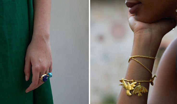 Pippa Small Gold Rings / Gold Bird Bracelet