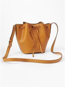 leather drawstring bucket bag / gap