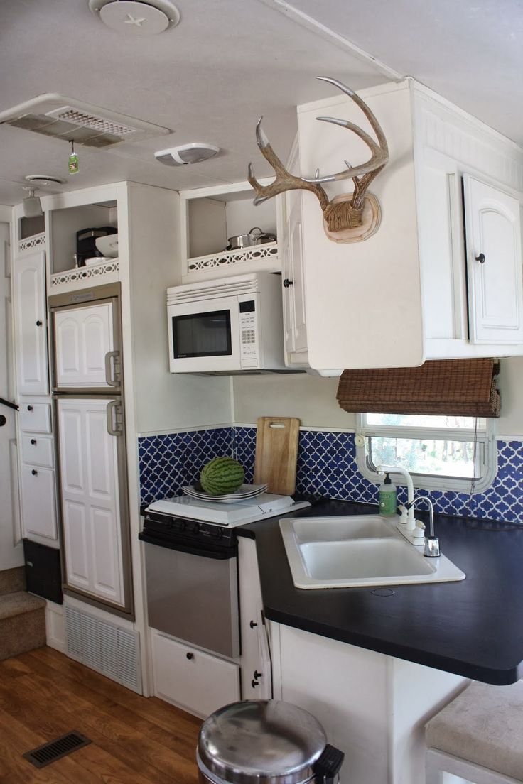 "The Wright Family: RV Renos White paint + blue stenciled walls. - stencil over ""backsplash""?"