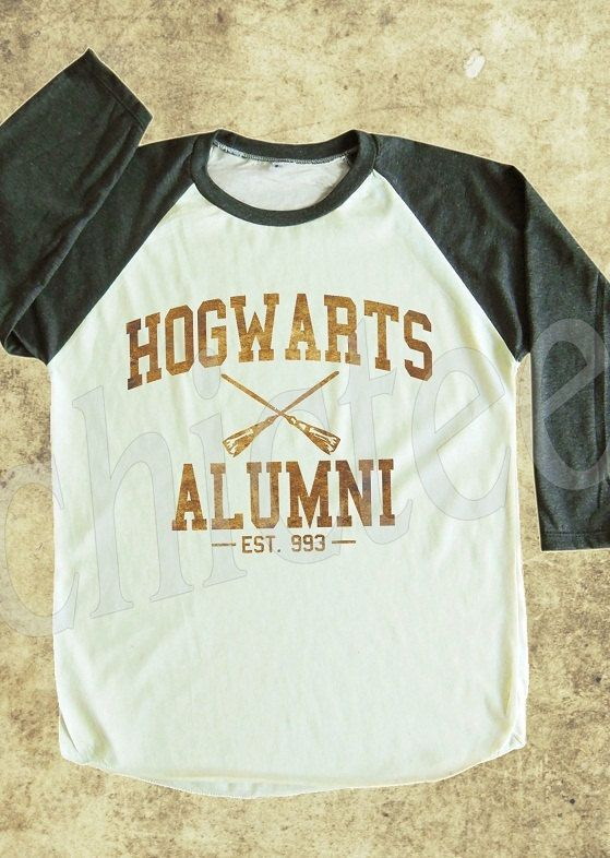 Hogwarts Alumni tshirt harry potter shirt art shirt women t shirt unisex t shirt raglan tee baseball shirt 3/4 long sleeve t shirt S,M,L