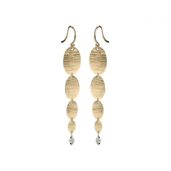 Cypress Graduated Textured Oval Earring With Diamond 2 Tcw Our Jewelry Is Designed And Made One Piece At A Time In Austin Texas Studio