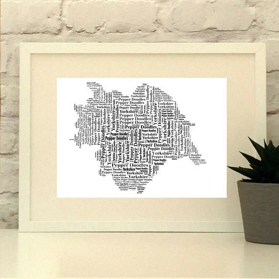 Yorkshire Map Personalised Print Map Typography Typographic