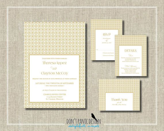 Elegant Gold Printable Wedding Invitation Set   Elegant Gold Wedding Ring  Invitation   Wedding, Anniversary