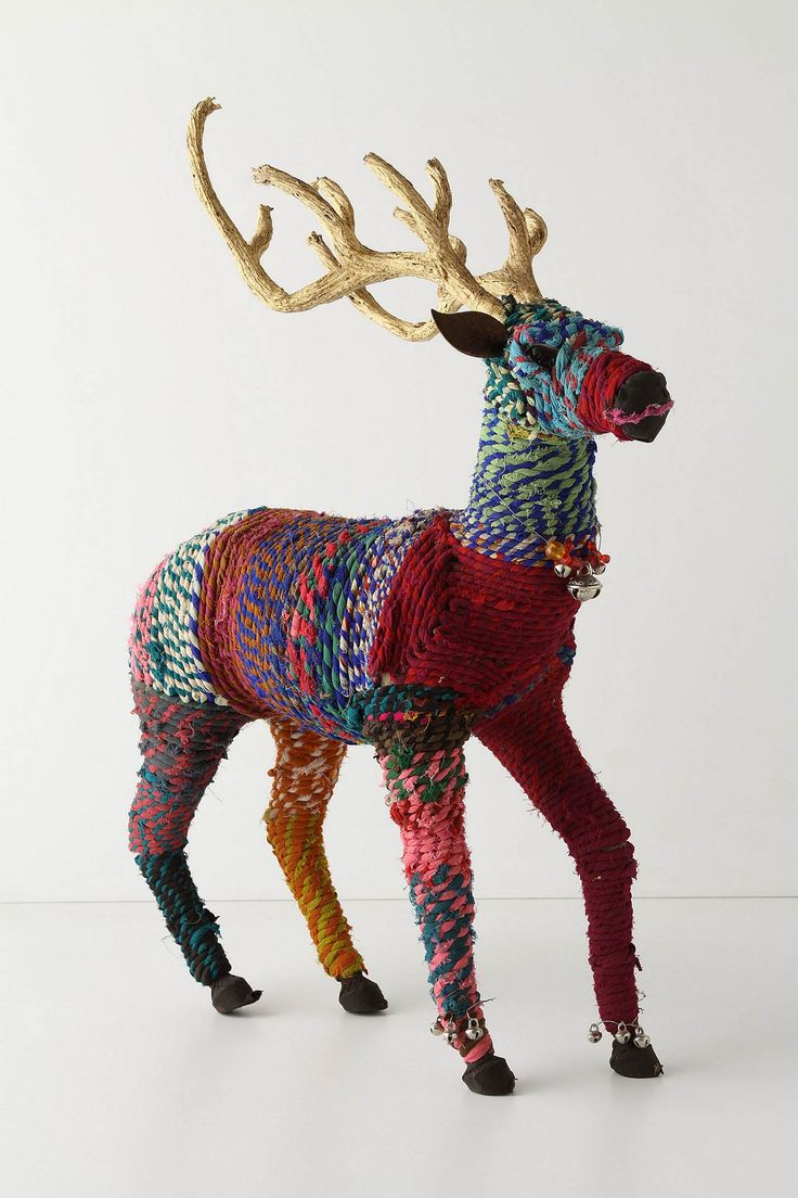 Repurposed Reindeer.  Love the strands of recycled fabric wrapped around this Rudolph!