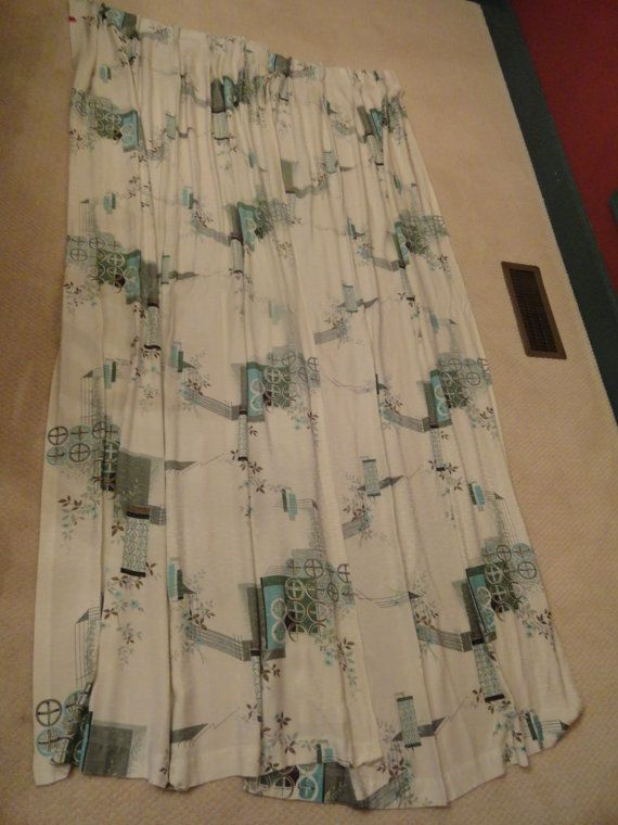 FABULOUS Midcentury Draperies Curtains Fabric  by backofbeyond, $46.00