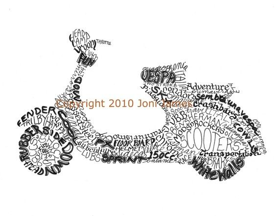 Retro Italian Vespa Scooter Art Typography by CalligramORama, $19.50
