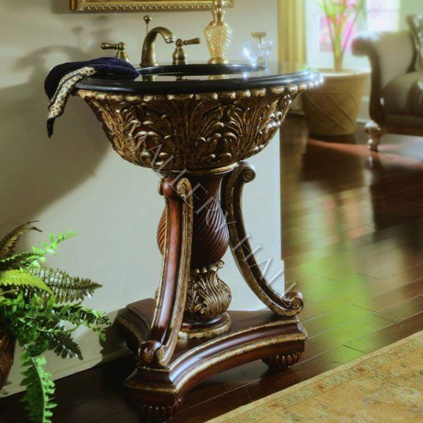 Hand Carved Solid Mahogany Gold Accents Turned Pedestal