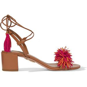 Aquazzura Wild Thing fringed suede and leather sandals