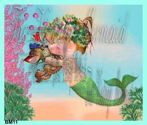 Vintage baby mermaid fabric art retro print by for Retro baby fabric