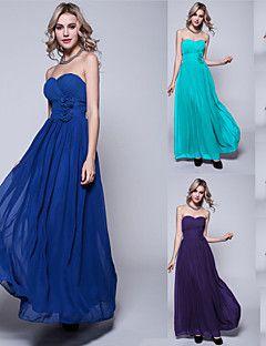 Floor-length Chiffon Bridesmaid Dress - Ink Blue / Pool / Regency / Black / Burgundy / Ruby / Fuchsia / Silver / Jade / Royal Blue