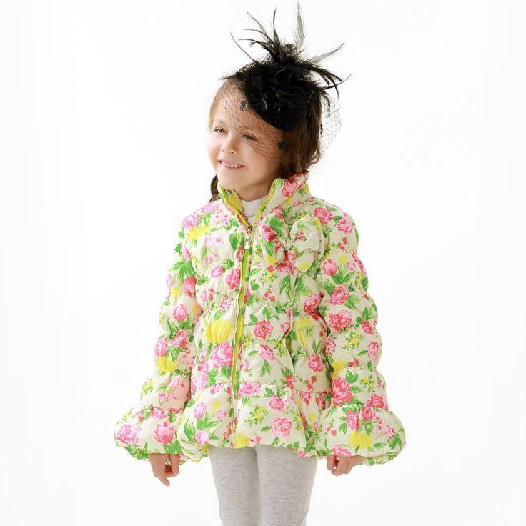 HIHEART 2015 весна новая коллекция детская одежда пуховик девочка принцесса цветочный рисунок бантик натуральный утиный пух